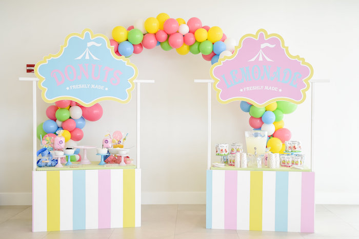 Donut & Lemonade Stands from a Girly Pastel Carnival Birthday Party on Kara's Party Ideas   KarasPartyIdeas.com (31)