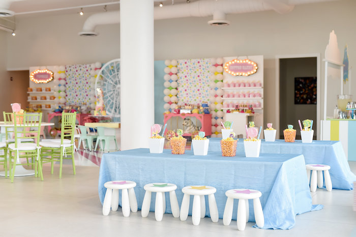 Guest Tables + Party Spread from a Girly Pastel Carnival Birthday Party on Kara's Party Ideas   KarasPartyIdeas.com (24)