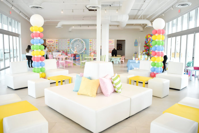 Pastel Circus Lounge from a Girly Pastel Carnival Birthday Party on Kara's Party Ideas   KarasPartyIdeas.com (18)