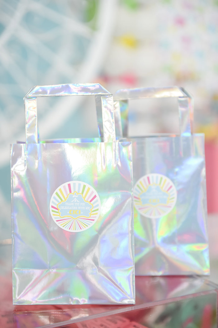 Iridescent Favors Bags from a Girly Pastel Carnival Birthday Party on Kara's Party Ideas   KarasPartyIdeas.com (5)