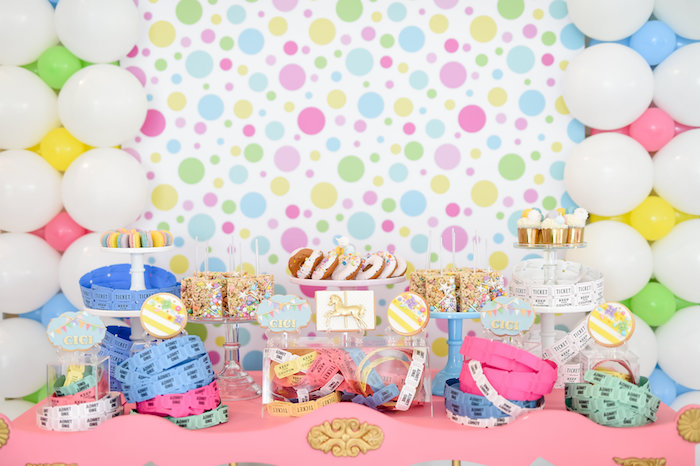 Carnival Themed Dessert Table from a Girly Pastel Carnival Birthday Party on Kara's Party Ideas   KarasPartyIdeas.com (40)