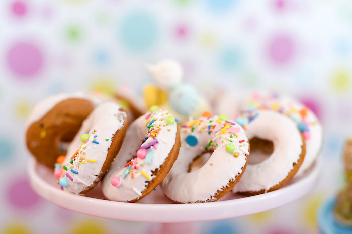 White Sprinkled Doughnuts from a Girly Pastel Carnival Birthday Party on Kara's Party Ideas   KarasPartyIdeas.com (38)