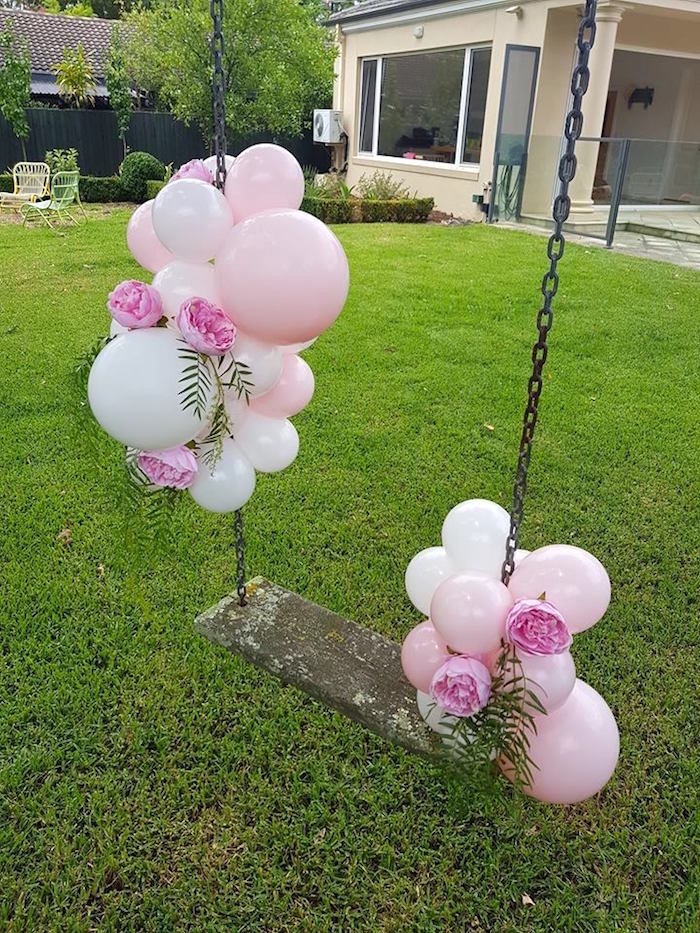 Balloon-adorned Swing from a Glam Balloon Princess Birthday Party on Kara's Party Ideas | KarasPartyIdeas.com (7)
