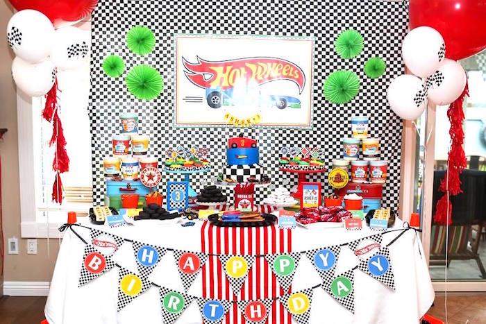 Hot Wheels Themed Dessert Table from a Hot Wheels Car Birthday Party on Kara's Party Ideas | KarasPartyIdeas.com (30)