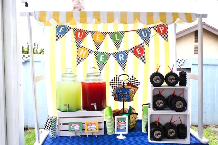 Fuel Up Beverage Table from a Hot Wheels Car Birthday Party on Kara's Party Ideas | KarasPartyIdeas.com (29)