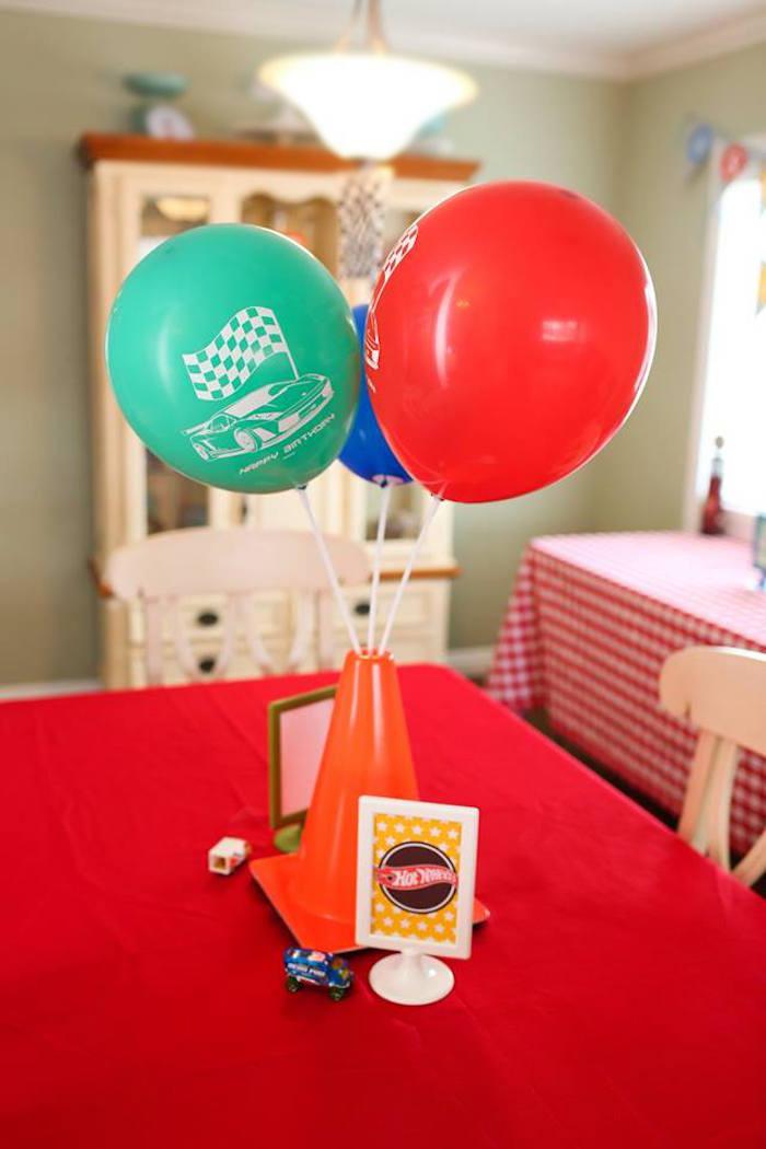 Car Themed Table Centerpiece from a Hot Wheels Car Birthday Party on Kara's Party Ideas   KarasPartyIdeas.com (28)