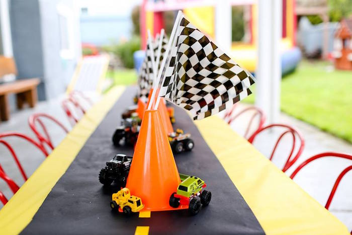 Orange Caution Cone Table Centerpiece from a Hot Wheels Car Birthday Party on Kara's Party Ideas | KarasPartyIdeas.com (21)