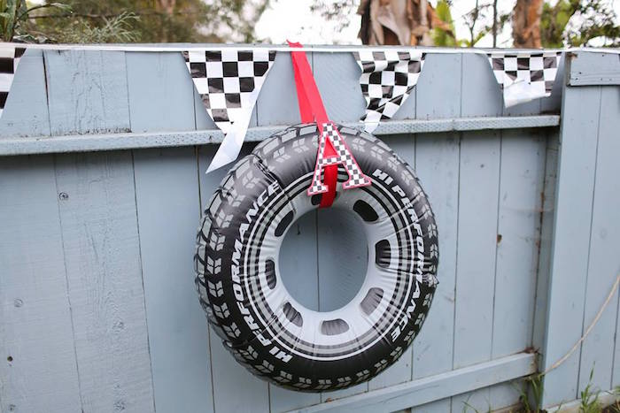 Inflatable Tire Decoration from a Hot Wheels Car Birthday Party on Kara's Party Ideas | KarasPartyIdeas.com (20)