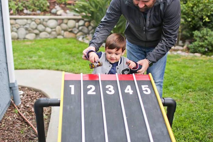 Race Track from a Hot Wheels Car Birthday Party on Kara's Party Ideas   KarasPartyIdeas.com (18)