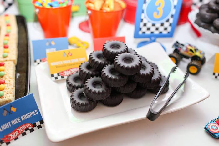 Monster Truck Oreo Tires from a Hot Wheels Car Birthday Party on Kara's Party Ideas | KarasPartyIdeas.com (11)