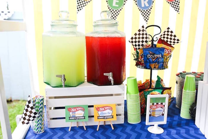 Beverage Table from a Hot Wheels Car Birthday Party on Kara's Party Ideas | KarasPartyIdeas.com (9)