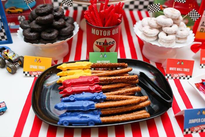 Dip Sticks from a Hot Wheels Car Birthday Party on Kara's Party Ideas   KarasPartyIdeas.com (7)