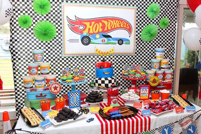 Hot Wheels Party Table from a Hot Wheels Car Birthday Party on Kara's Party Ideas | KarasPartyIdeas.com (5)