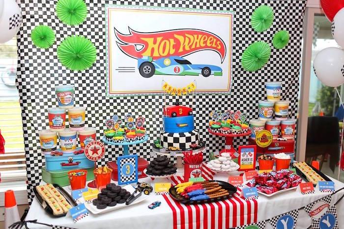 Hot Wheels Party Table from a Hot Wheels Car Birthday Party on Kara's Party Ideas | KarasPartyIdeas.com (5)