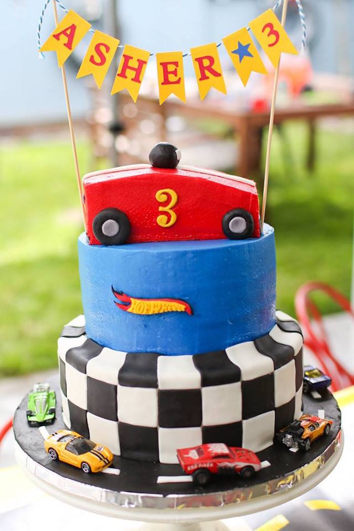 Hot Wheel Cake from a Hot Wheels Car Birthday Party on Kara's Party Ideas | KarasPartyIdeas.com (39)