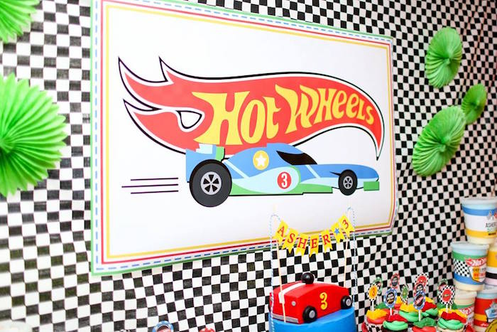 Hot Wheel Signage from a Hot Wheels Car Birthday Party on Kara's Party Ideas | KarasPartyIdeas.com (38)