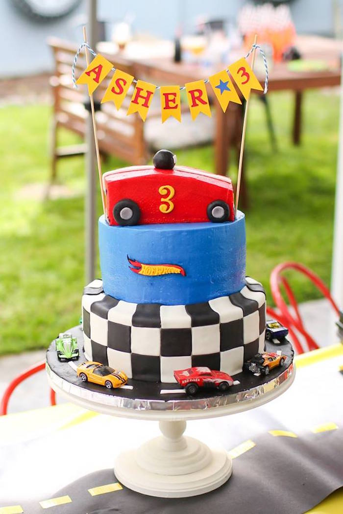 Hot Wheel Cake from a Hot Wheels Car Birthday Party on Kara's Party Ideas | KarasPartyIdeas.com (36)
