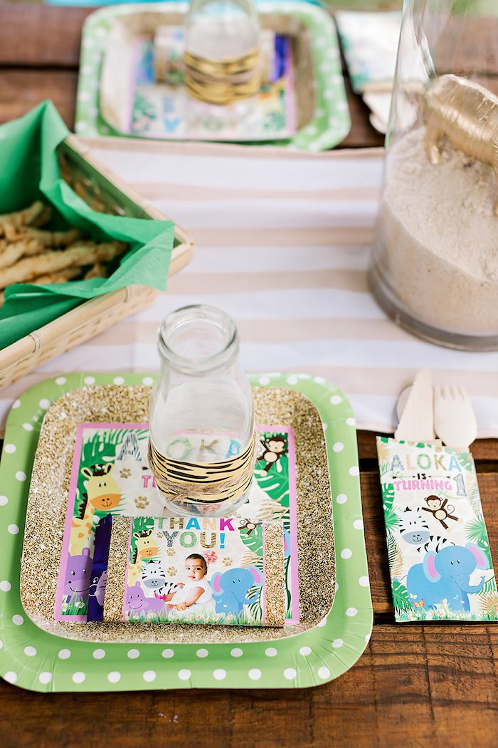 Jungle Table Setting from a Jungle Animal Safari Birthday Party on Kara's Party Ideas | KarasPartyIdeas.com (22)