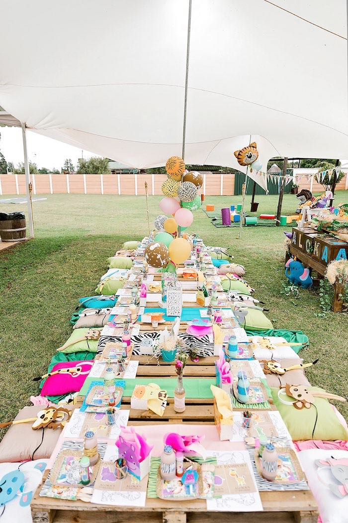 Pallet Board Kid Table from a Jungle Animal Safari Birthday Party on Kara's Party Ideas | KarasPartyIdeas.com (19)
