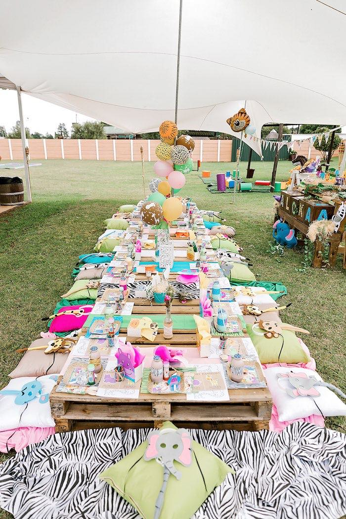 Pallet Board Kid Table from a Jungle Animal Safari Birthday Party on Kara's Party Ideas | KarasPartyIdeas.com (18)