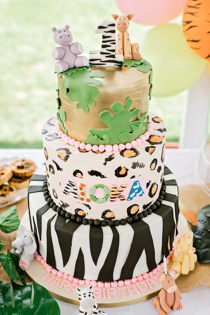 Jungle Animal Cake from a Jungle Animal Safari Birthday Party on Kara's Party Ideas | KarasPartyIdeas.com (34)