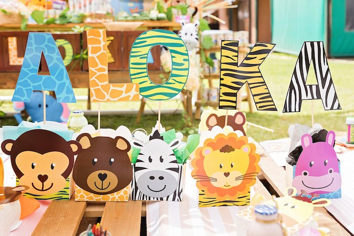 Animal Boxes from a Jungle Animal Safari Birthday Party on Kara's Party Ideas | KarasPartyIdeas.com (9)