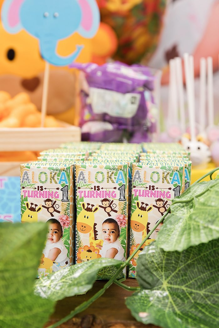 Custom Juice Boxes from a Jungle Animal Safari Birthday Party on Kara's Party Ideas | KarasPartyIdeas.com (4)