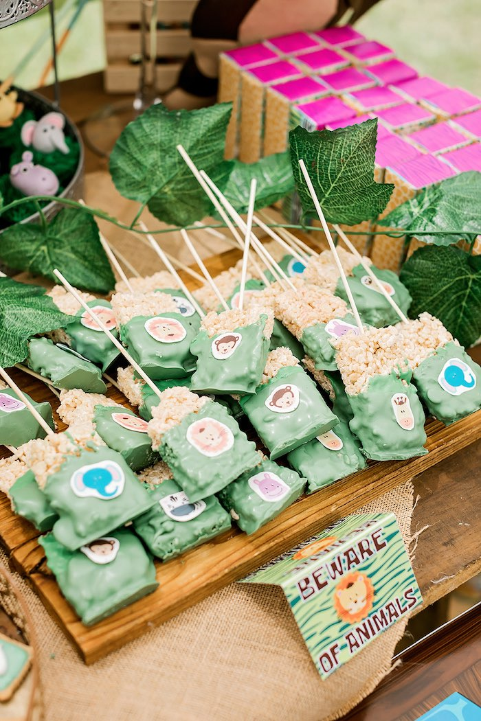 Jungle Animal Rice Krispie Treat Pops from a Jungle Animal Safari Birthday Party on Kara's Party Ideas | KarasPartyIdeas.com (30)