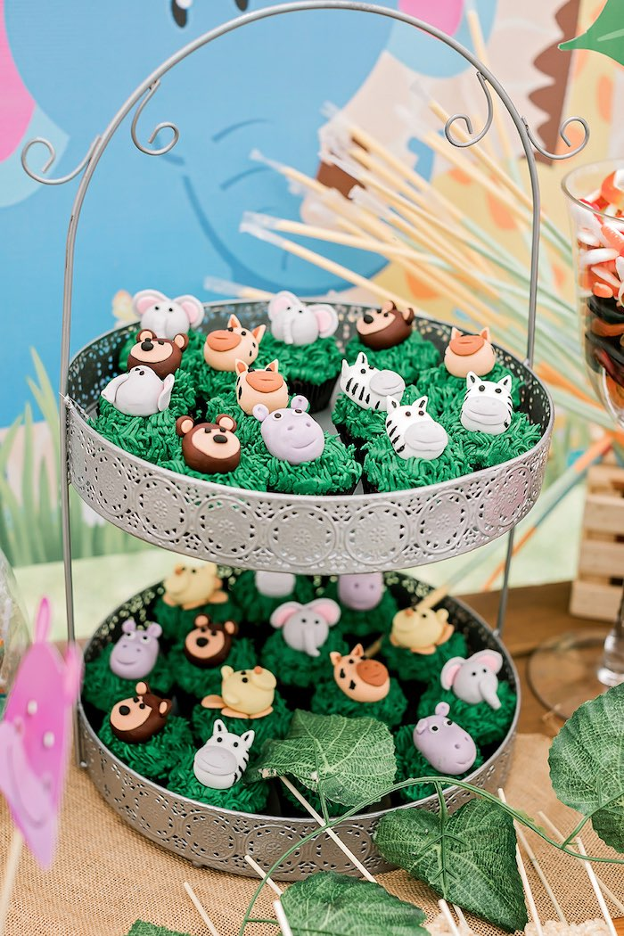 Jungle Animal Cupcakes from a Jungle Animal Safari Birthday Party on Kara's Party Ideas | KarasPartyIdeas.com (29)