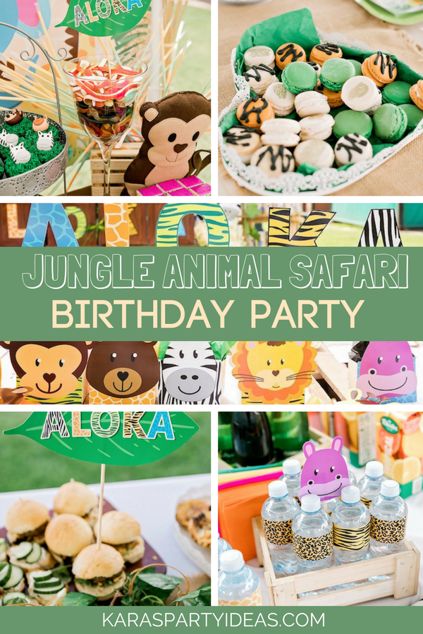 Jungle Animal Safari Birthday Party via KarasPartyIdeas - KarasPartyIdeas.com