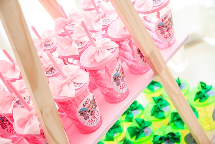 Bow-topped Cups from a L.O.L. Surprise! Birthday Party on Kara's Party Ideas | KarasPartyIdeas.com (13)