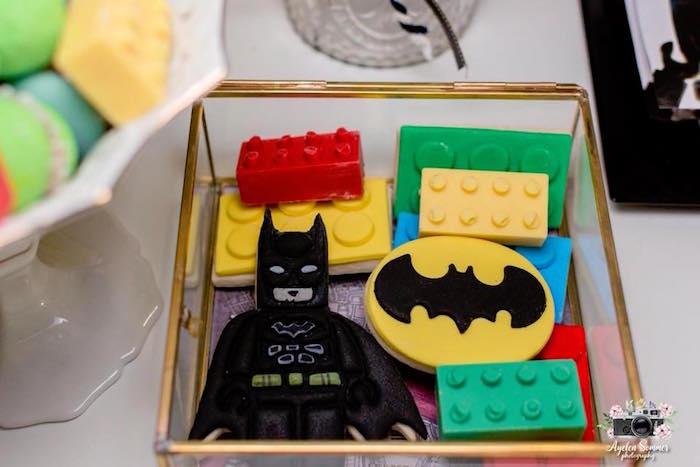 Lego Cookies + Chocolates from a Lego Batman Birthday Party on Kara's Party Ideas | KarasPartyIdeas.com (2)