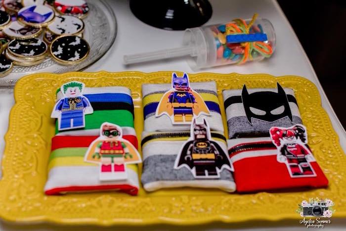 Favors from a Lego Batman Birthday Party on Kara's Party Ideas | KarasPartyIdeas.com (3)