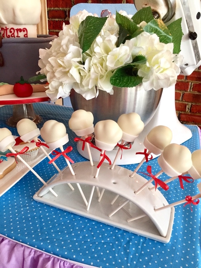 Chef Hat Cake Pops from a Little Chef Birthday Party on Kara's Party Ideas | KarasPartyIdeas.com (15)
