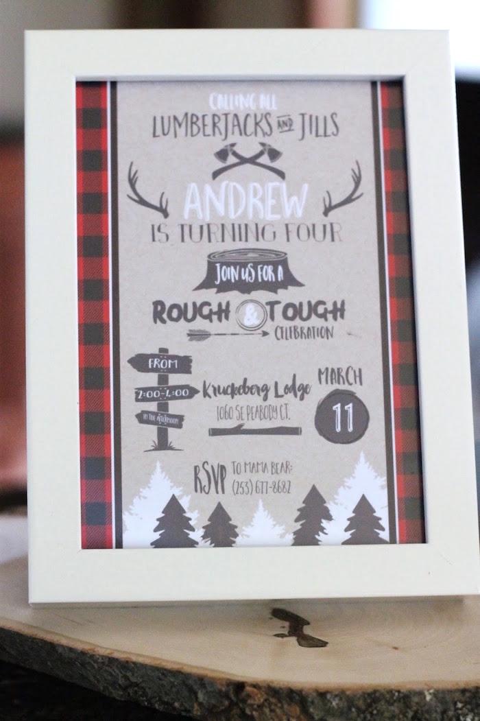 Lumberjack Party Invite from a Lumberjack Birthday Bash on Kara's Party Ideas | KarasPartyIdeas.com (23)