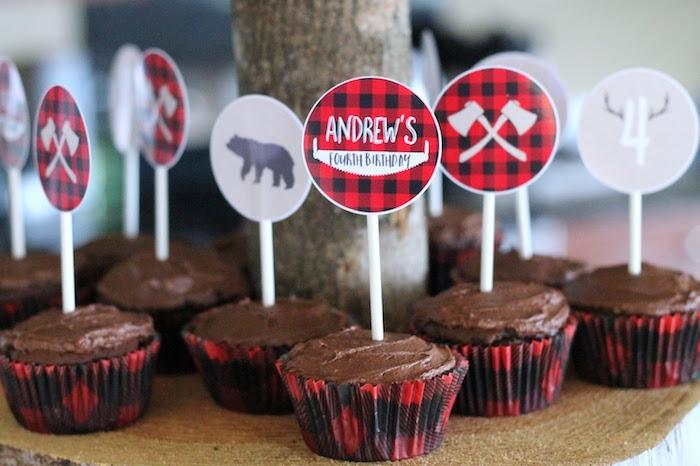 Lumberjack-inspired Cupcakes from a Lumberjack Birthday Bash on Kara's Party Ideas | KarasPartyIdeas.com (22)
