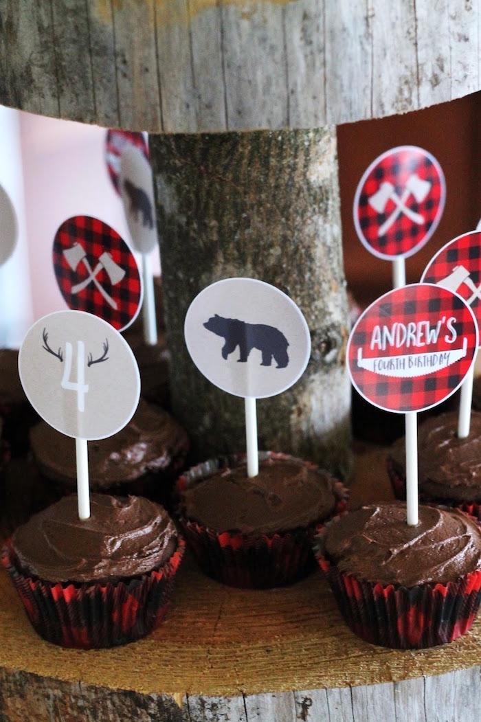 Cupcakes from a Lumberjack Birthday Bash on Kara's Party Ideas | KarasPartyIdeas.com (21)