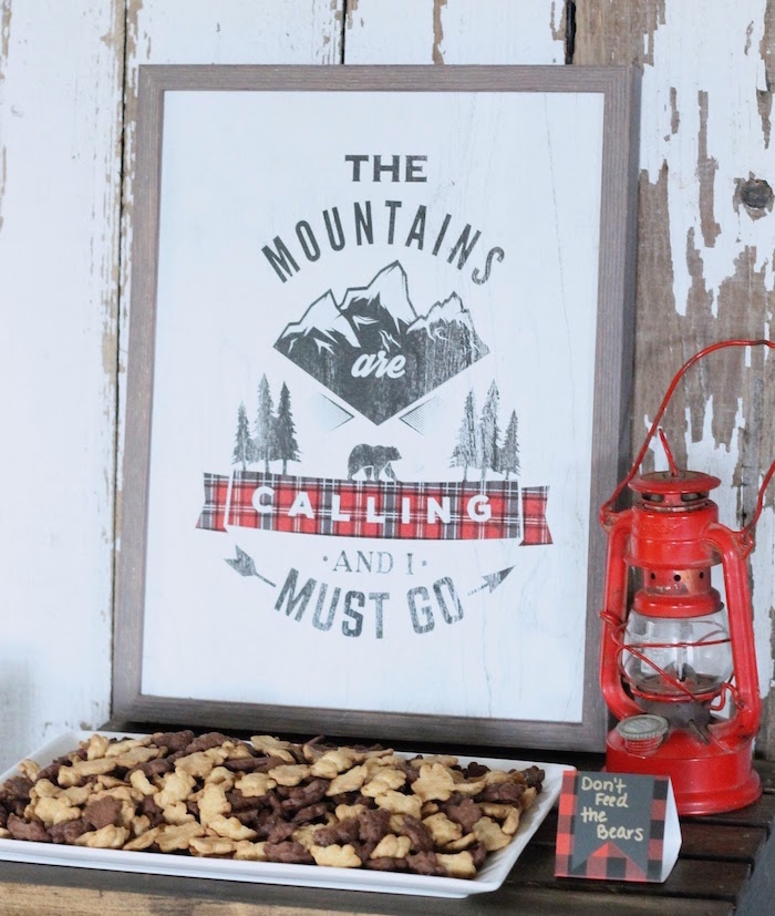 The Mountains Are Calling Sign from a Teddy Graham Tray from a Lumberjack Birthday Bash on Kara's Party Ideas | KarasPartyIdeas.com (16)