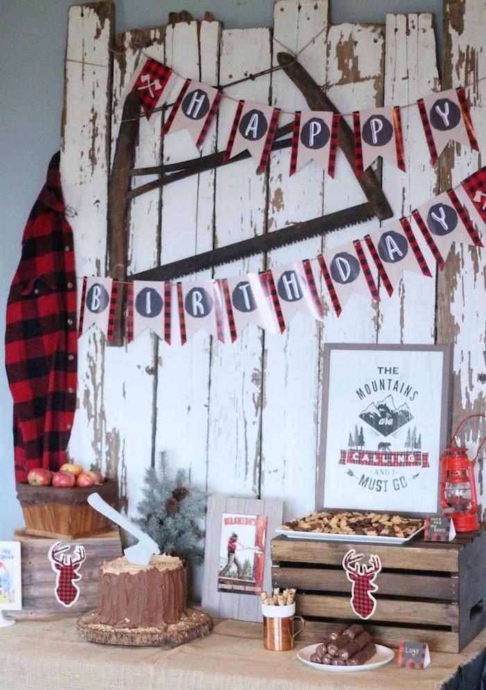Lumberjack Themed Dessert Table from a Lumberjack Birthday Bash on Kara's Party Ideas | KarasPartyIdeas.com (33)
