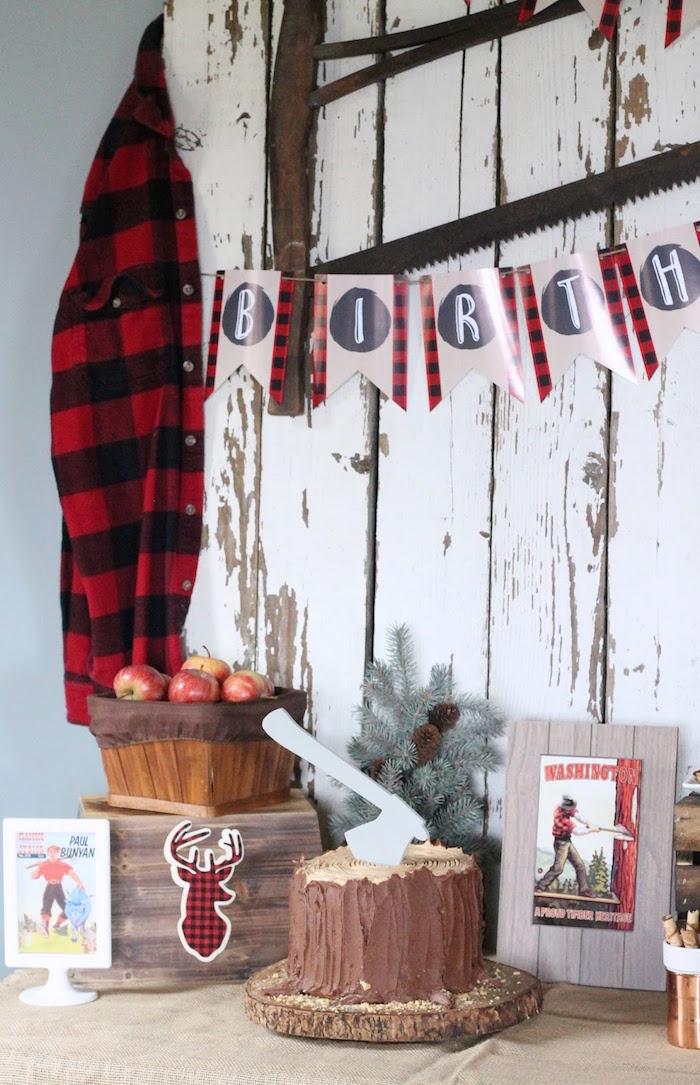 Lumberjack Cake Table from a Lumberjack Birthday Bash on Kara's Party Ideas | KarasPartyIdeas.com (10)
