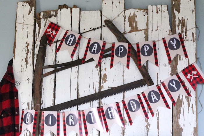 Lumberjack Banner + White Washed Board Backdrop from a Lumberjack Birthday Bash on Kara's Party Ideas | KarasPartyIdeas.com (9)