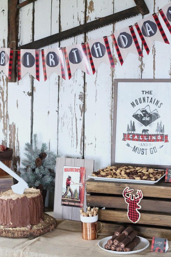 Lumberjack Party Table from a Lumberjack Birthday Bash on Kara's Party Ideas | KarasPartyIdeas.com (8)