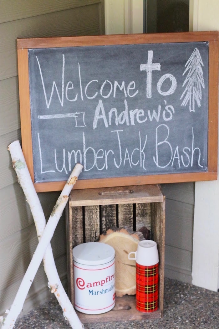 Welcome Signage from a Lumberjack Birthday Bash on Kara's Party Ideas | KarasPartyIdeas.com (7)