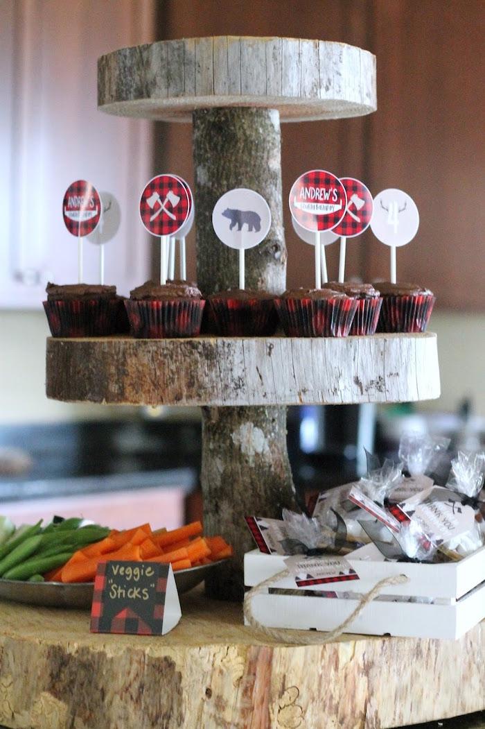 Rustic Log Cupcake Pedestal from a Lumberjack Birthday Bash on Kara's Party Ideas | KarasPartyIdeas.com (29)
