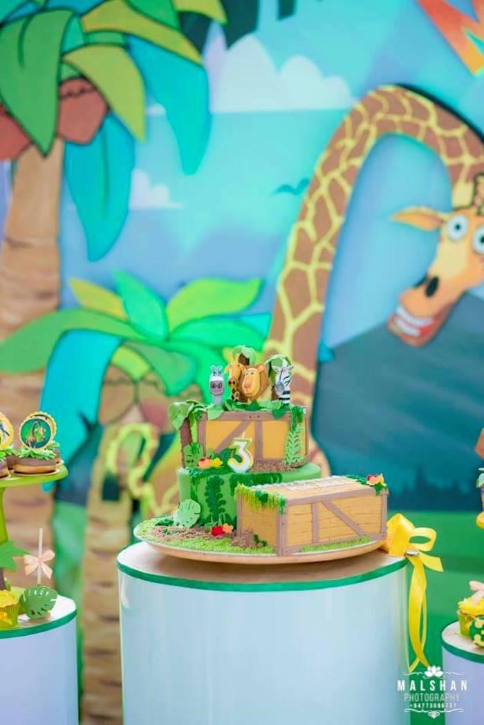 Madagascar Cake from a Madagascar Inspired Safari Party on Kara's Party Ideas | KarasPartyIdeas.com (21)