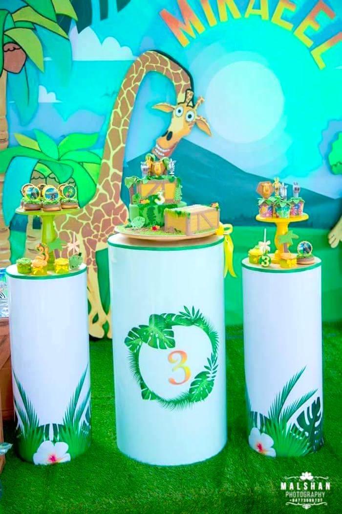 Pedestal Dessert Spread from a Madagascar Inspired Safari Party on Kara's Party Ideas | KarasPartyIdeas.com (16)
