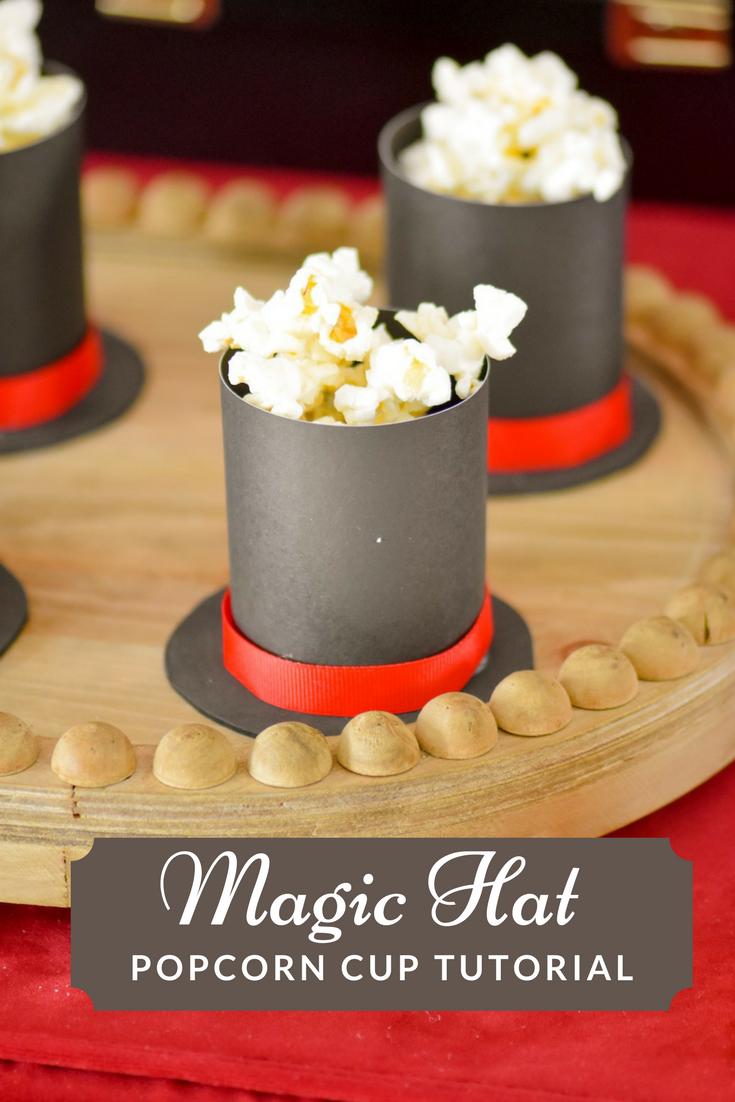 Magic Hat Popcorn Cup Tutorial for Magical Party Food via KarasPartyIdeas - KarasPartyIdeas.com