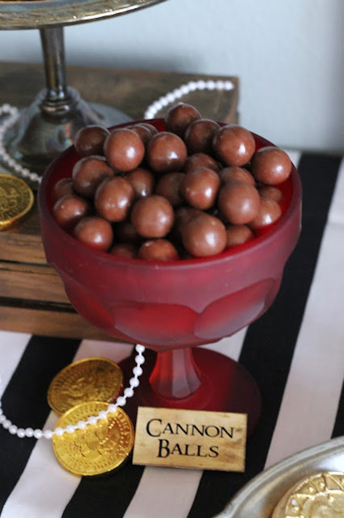 Cannon Ball Whoppers from a Mickey Mouse Pirate Party via Kara's Party Ideas | KarasPartyIdeas.com (18)