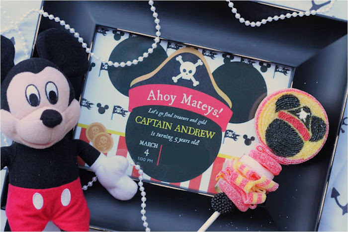 Mickey Mouse Pirate Party Invite from a Mickey Mouse Pirate Party via Kara's Party Ideas | KarasPartyIdeas.com (27)