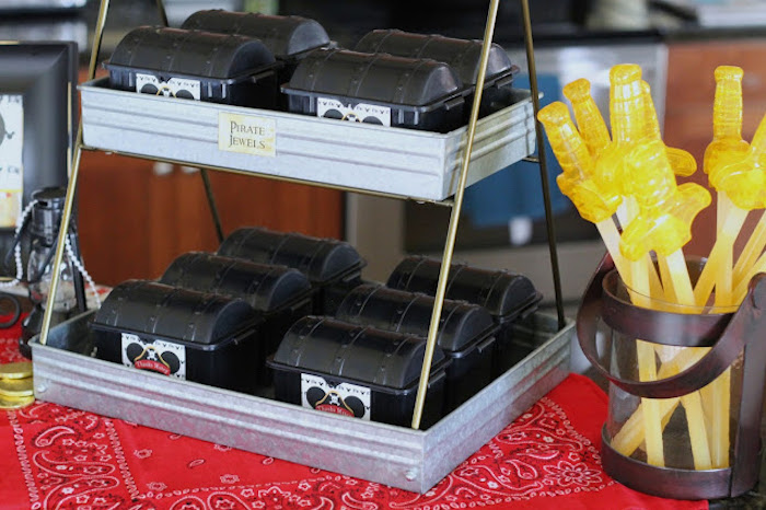 Treasure Chest Favor Boxes from a Mickey Mouse Pirate Party via Kara's Party Ideas | KarasPartyIdeas.com (7)